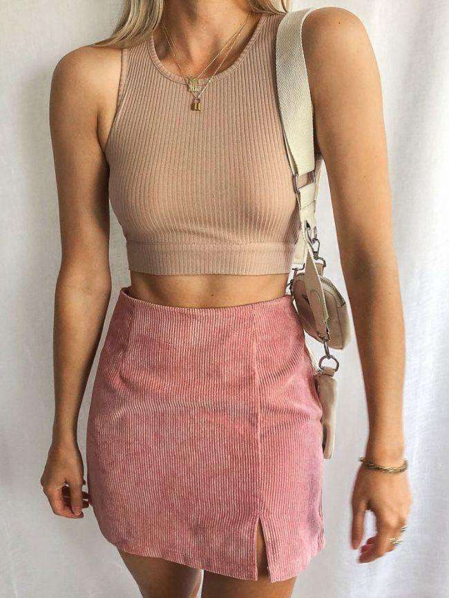 High-waist Corduroy Skirt