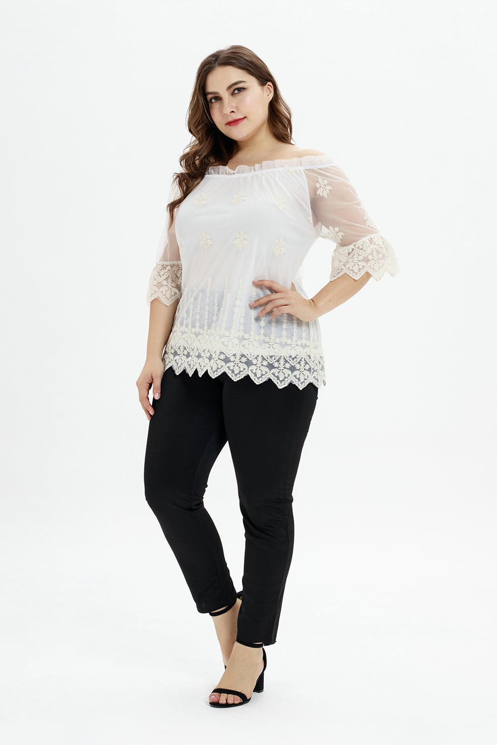 Mesh Embroidered Blouse