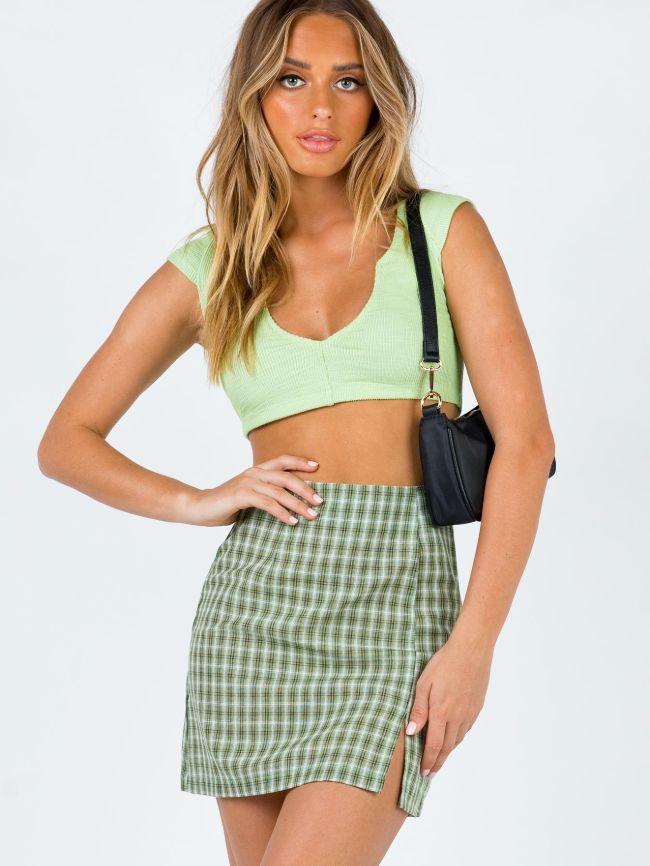 Mini Lattice Slit Skirt