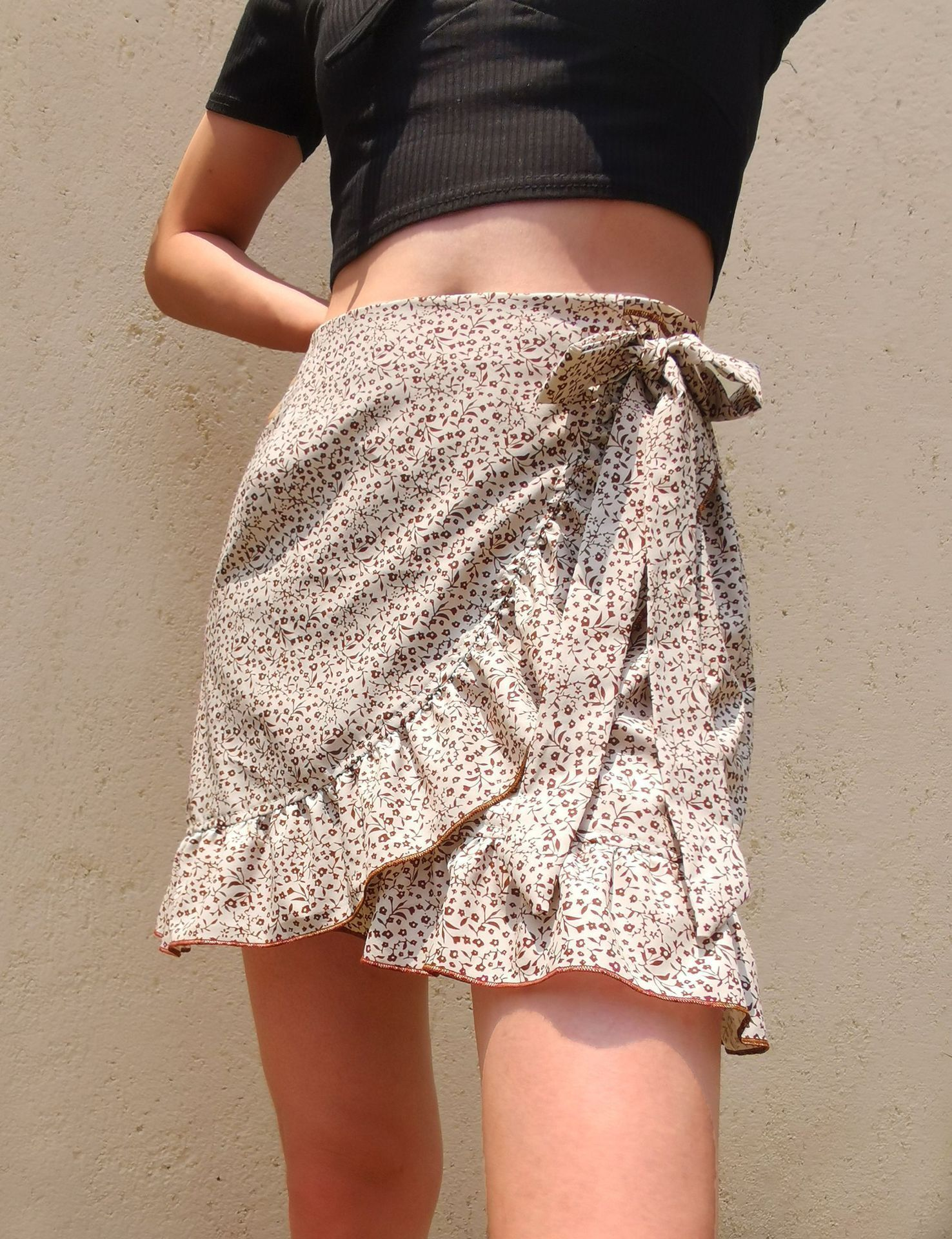 ruffles irregular print skirt