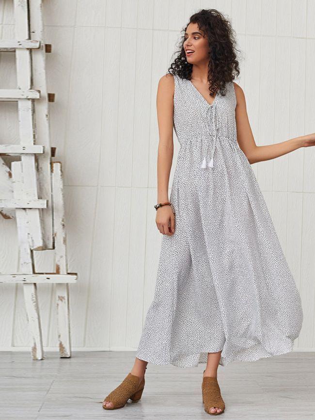 Long skirt with polka dot print