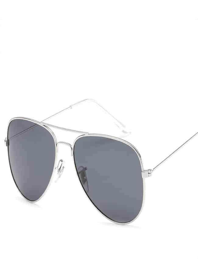 Sunglasses with silver frames and polarized lenses