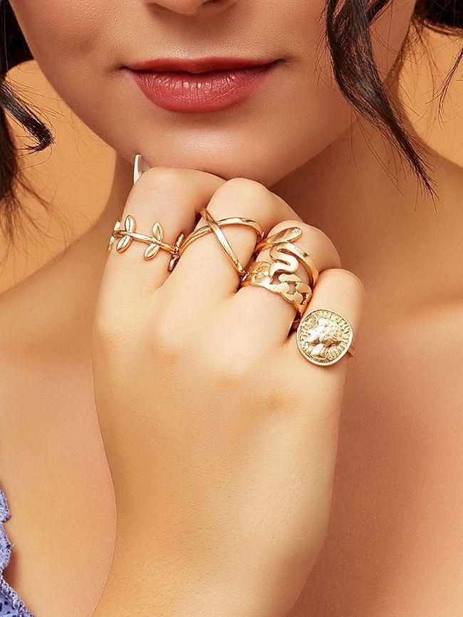 5Pcs Curved Geometric Jewelry Vintage Chain Leaf Set Ring