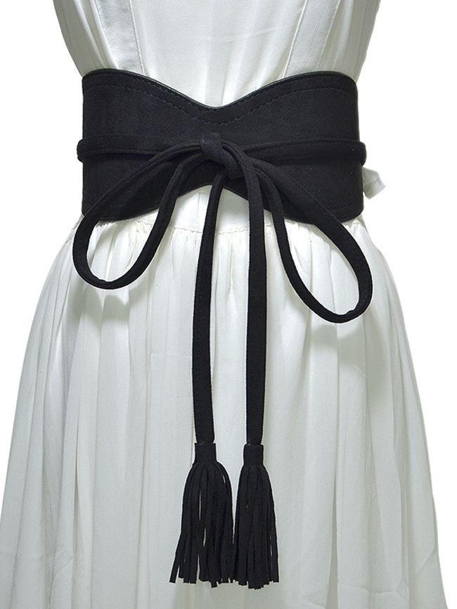 Double loop brown waist seaming skirt belt
