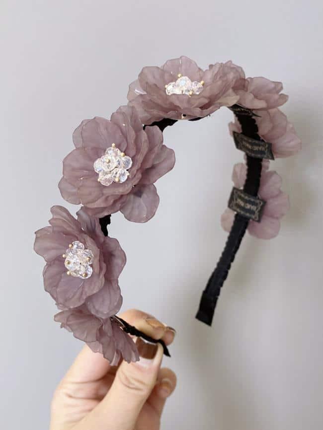 Fairy Style Resin Handmade Diamond Flower Headband