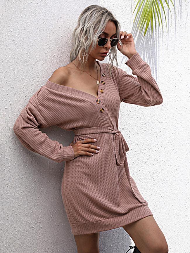 French V-Neck Waistband Mid-Length Knitted Dress