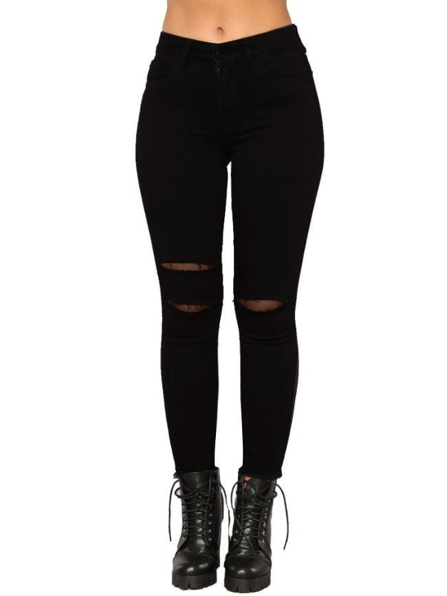 Hairy Mid-Waist Skinny Jeans