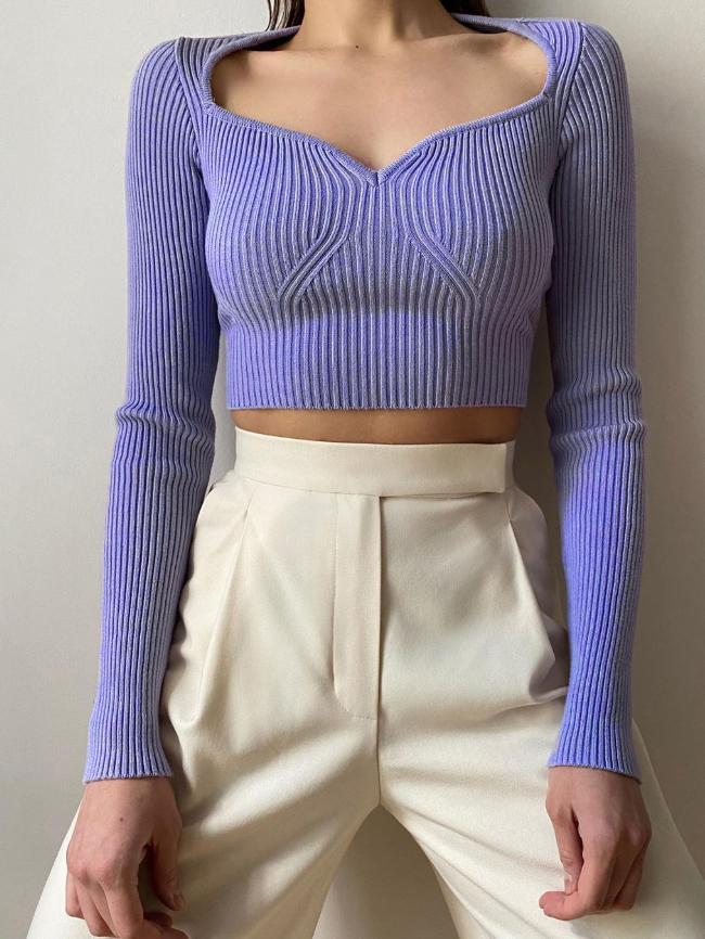Heart V-Neck Woolen Sweater