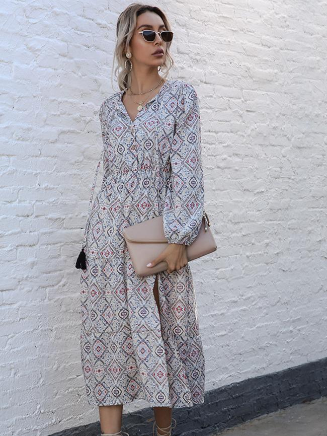 High Waist Small V-Neck Long Print Split Dress