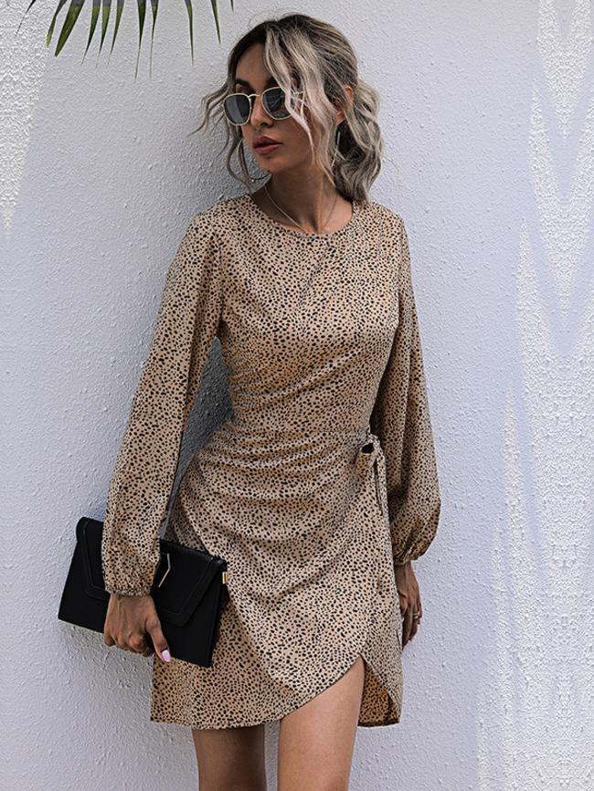 Leopard Print Waist Slim Long Sleeve Pullover Dress