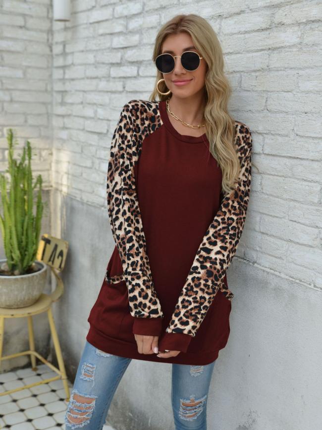 Leopard Stitching Top