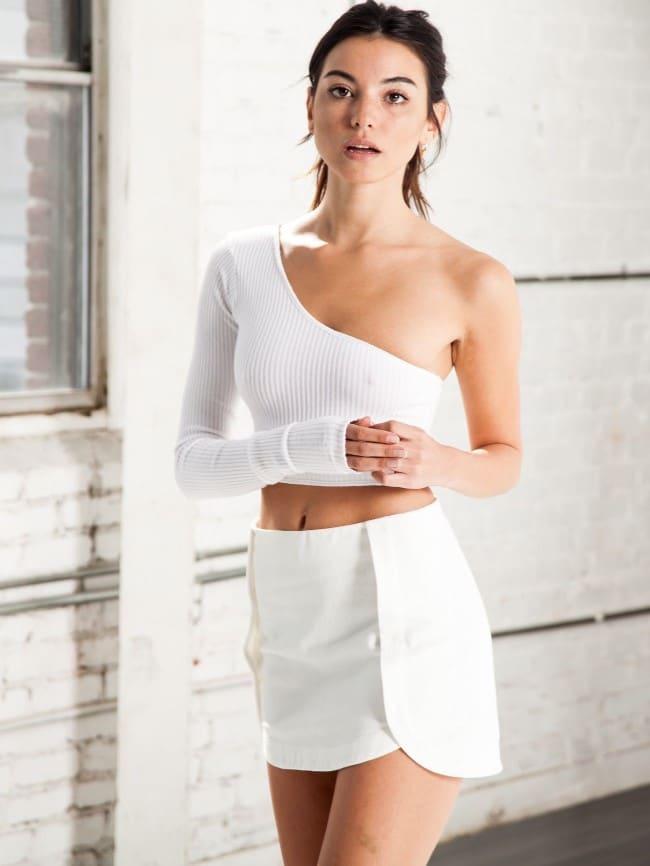 Long Sleeve One-Shoulder Top