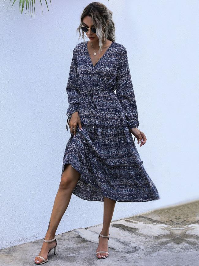 Printed Pullover V-Neck Waist Long Sleeve Dress