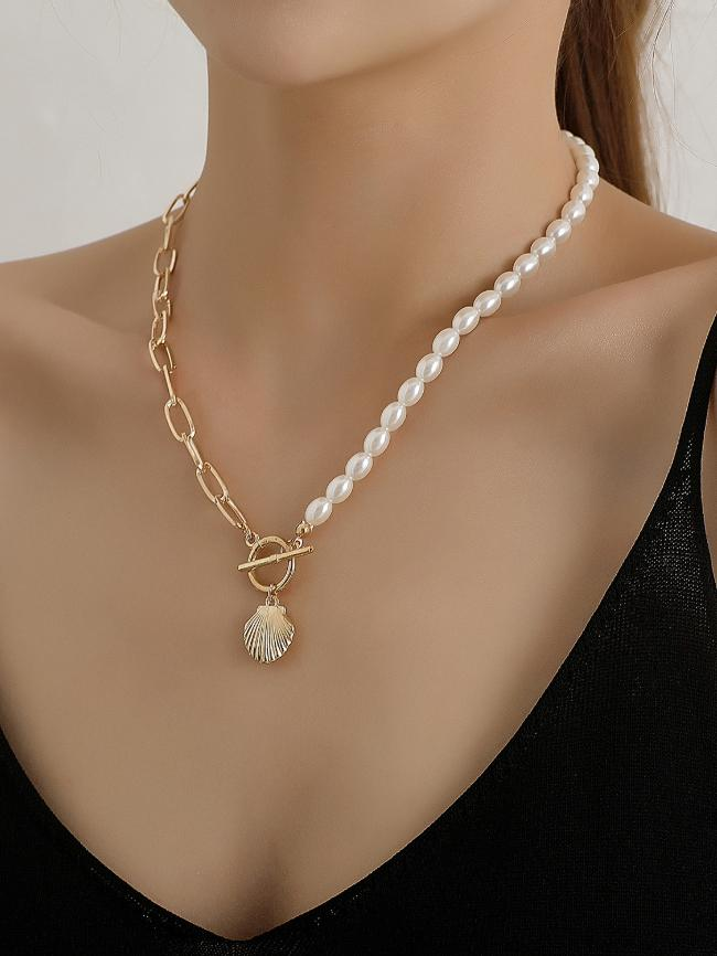 Rice-Shaped Pearl Scallop Necklace