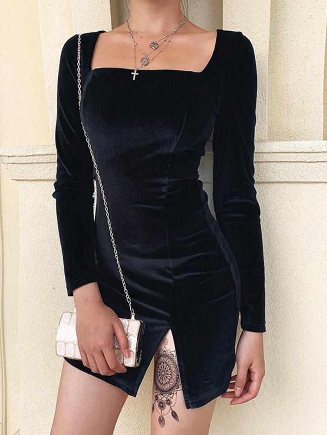 Round Neck Split Skirt