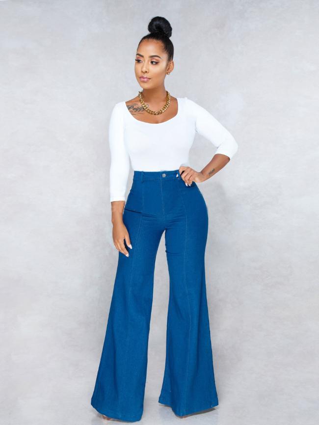 Simple Fashion Wide-Leg Jeans