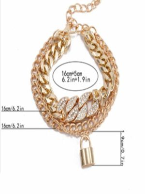 Thick Chain Vintage Lock Shaped Bracelet Necklace Set