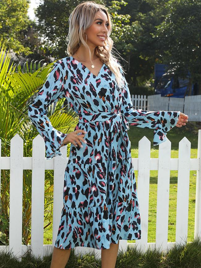 V-Neck Printed Leopard Print Flared Sleeve Midi Dress