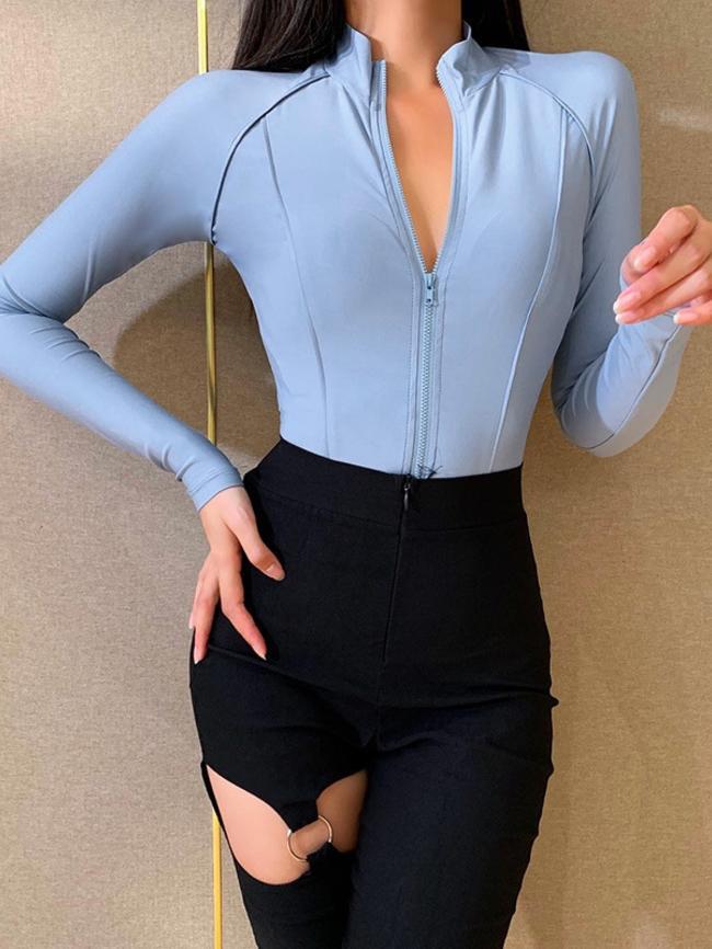Zipper Casual Jumpsuit