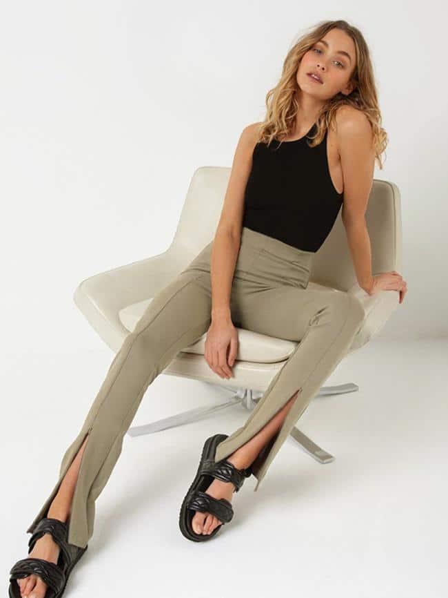 Zipper Straight-Leg Pants