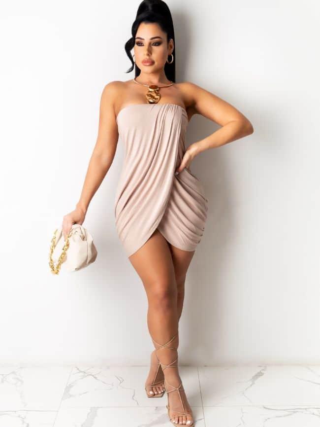 irregular pleated tube top skirt dress dress