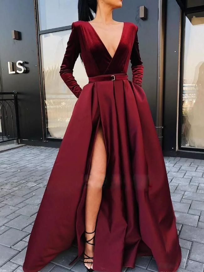 Deep V long-sleeved dress