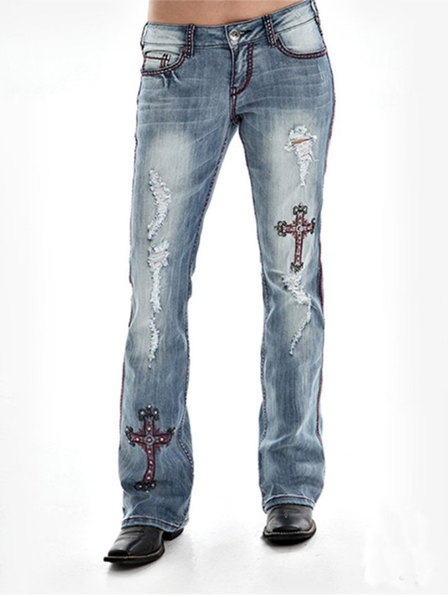 Embroidered cross frosted white craft long jeans