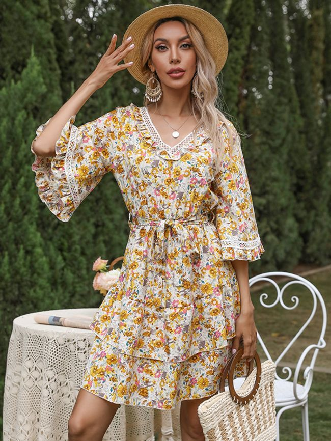 Floral print stitching lace flared double layer ruffle dress