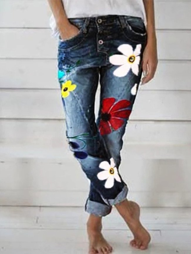 Flower print color-blocking small feet long jeans