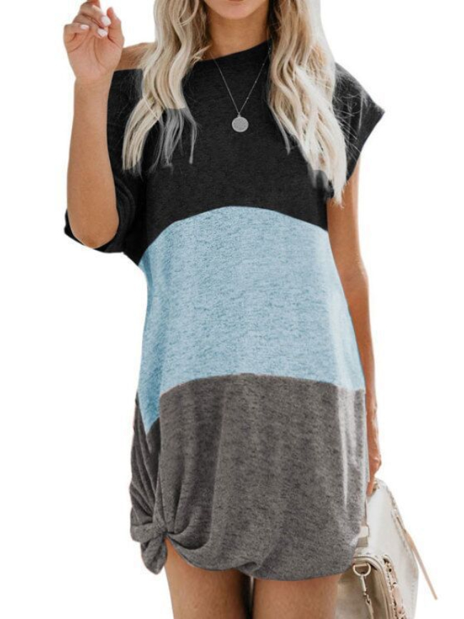 Colorblock Knotted Short Sleeve Dress
