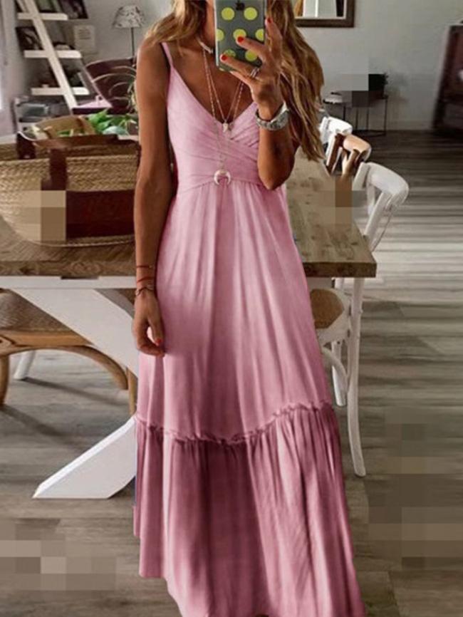 Cross strap V-neck gradient long dress