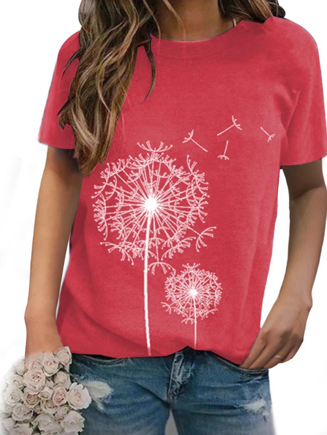 Dandelion print round neck short-sleeved T-shirt
