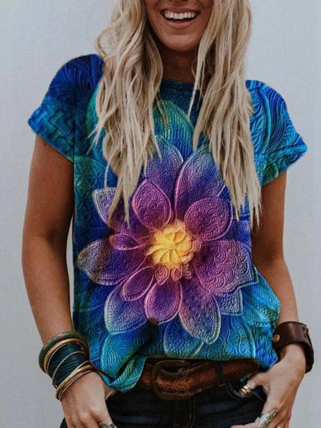 Flower and bird print T-shirt