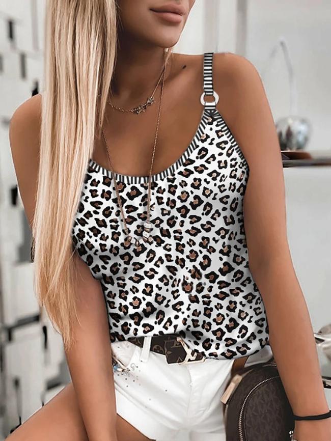 Leopard print elastic camisole vest