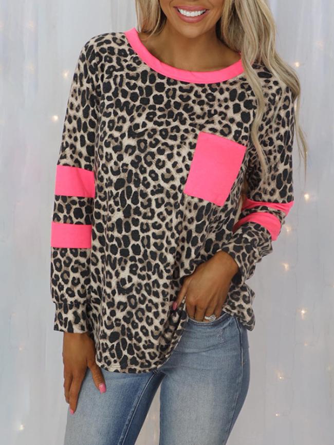 Leopard print stitching pocket long-sleeved T-shirt