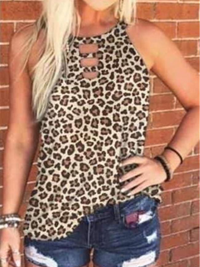 Leopard print tie-dye crew neck vest