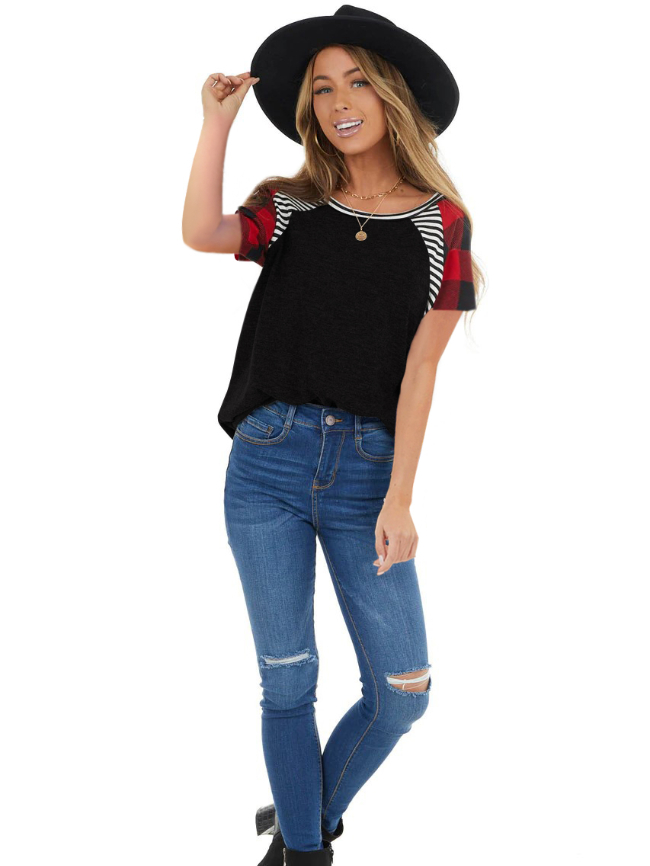 Plaid stitching striped solid color short-sleeved T-shirt