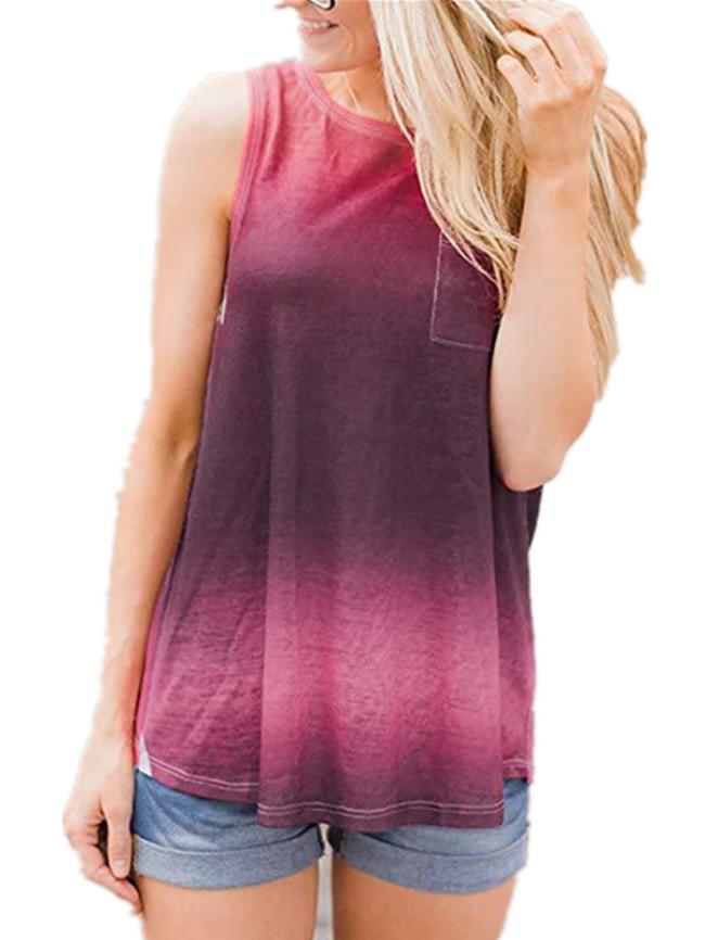 Tie-dye gradient round neck pocket vest