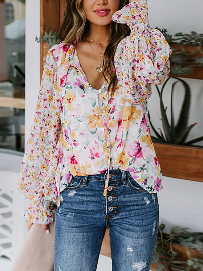 Watercolor pattern print lace-up puff sleeve top