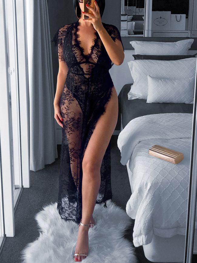 sexy see-through V-neck sexy lace dress
