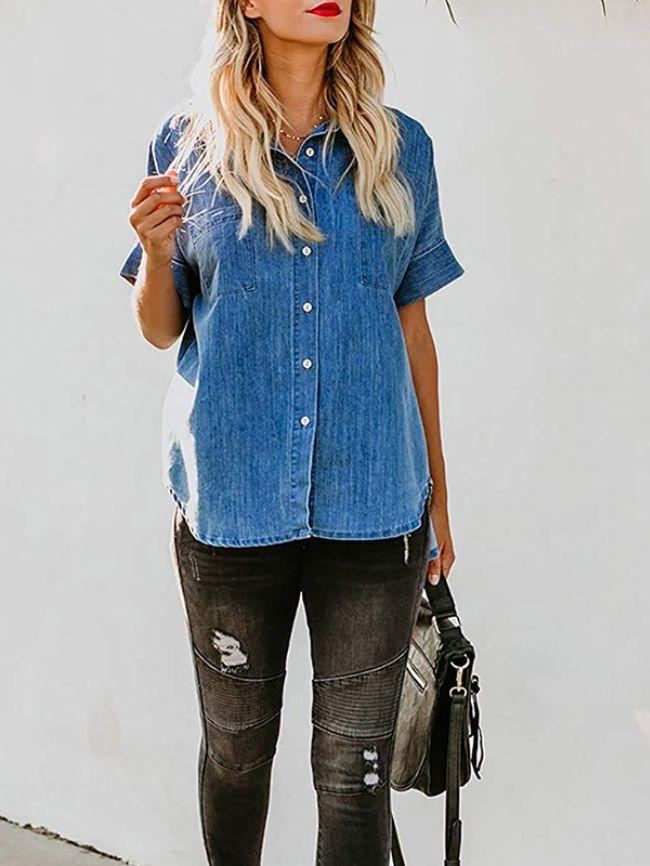 short-sleeved denim shirt