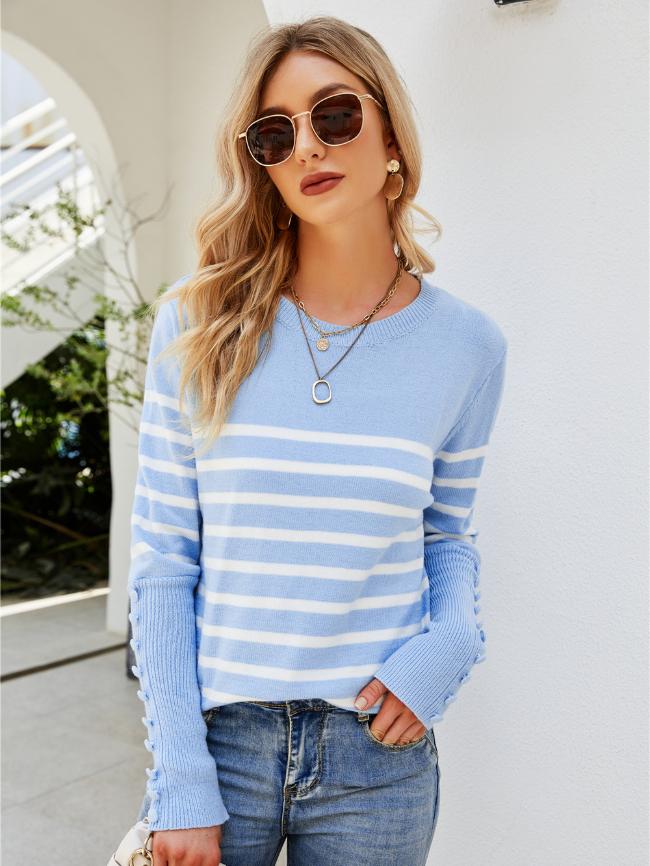 Button striped pullover sweater