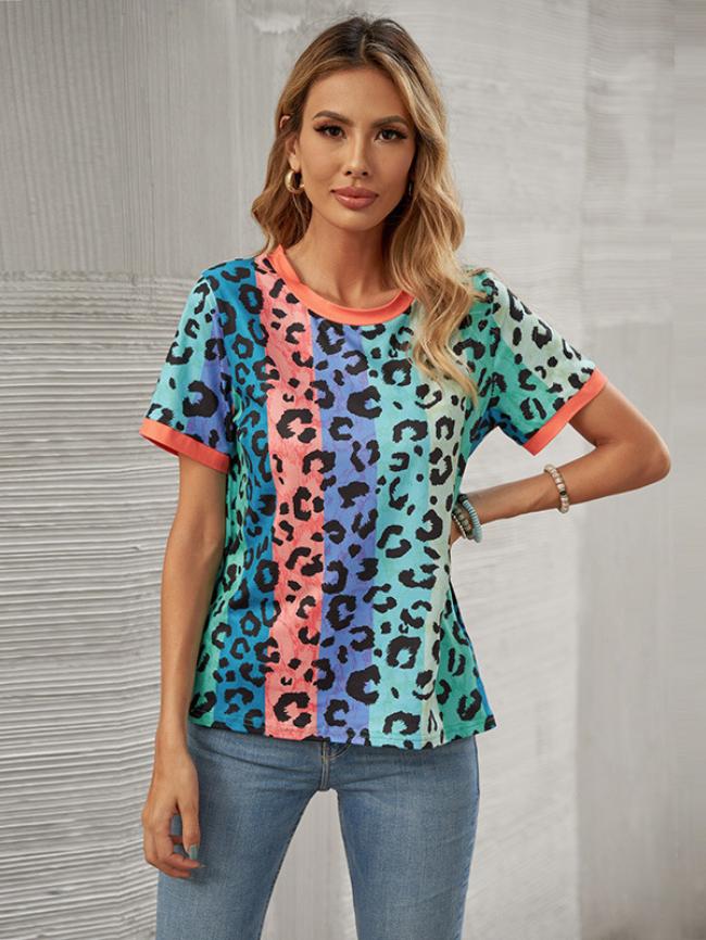 Color Leopard Print T-shirt
