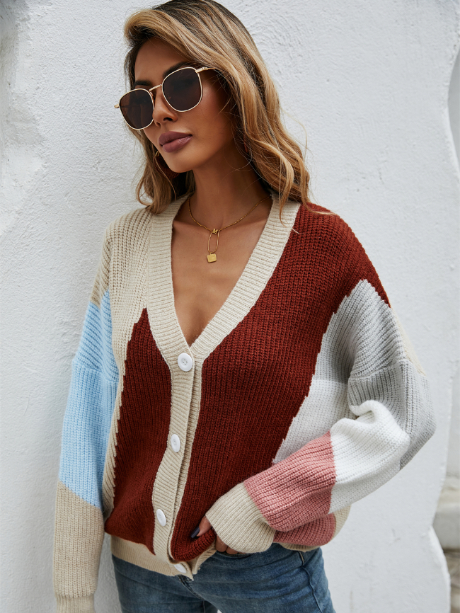 ColorBlock Stitching Sweater Cardigan