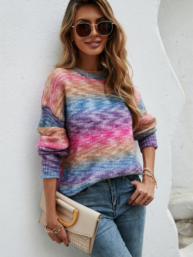Contrasting Color Pullover Sweater