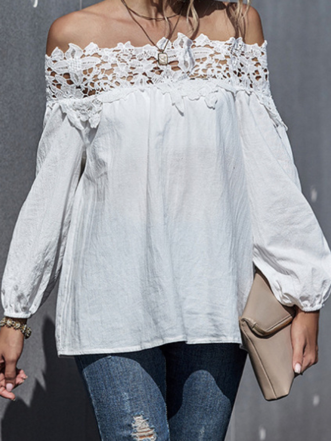 Lace Stitching Off-shoulder Puff Sleeve Top