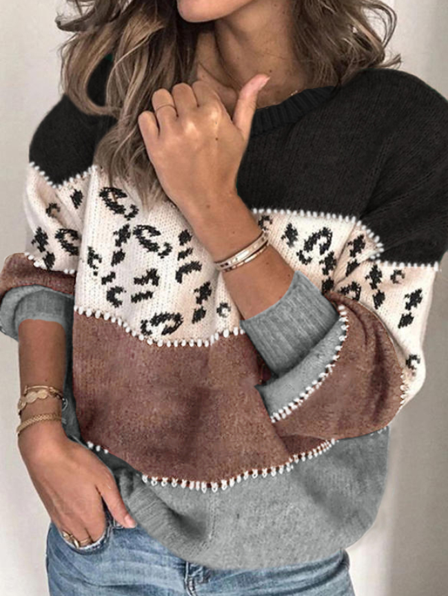 Leopard Print Stitching Pullover Sweater