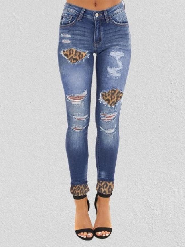 Leopard Print Stitching Skinny Jeans