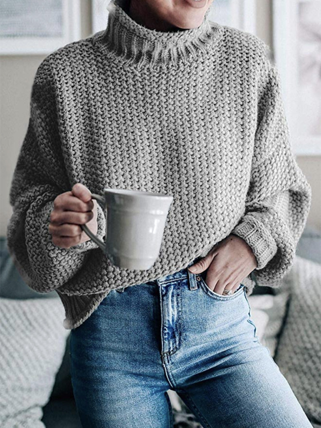 Mock-neck Thick Thread Sweater