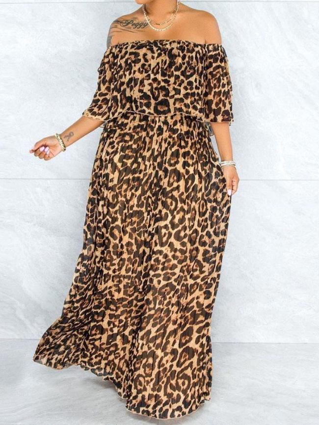 One-shoulder Leopard Print Dress